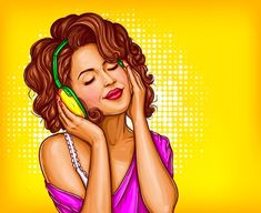 Young pretty woman in vintage headphones listening music with closed eyes pop art vector illustration on dotted background. Curly girl music lover relaxing when enjoying her favorite song. Art Vintage, Vintage Poster, Vintage Design, Vintage Music, Art And Illustration, Pop Art Vector, Retro Vector, Vector File, Desenho Pop Art