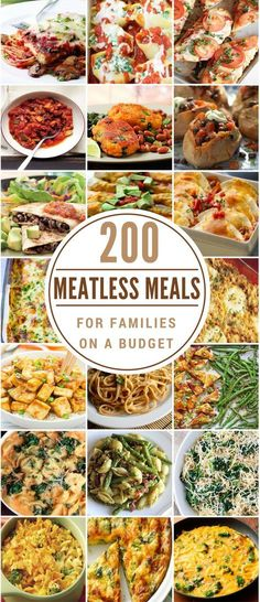 200 Meatless Meals for Families on a Budget These meatless recipes are healthy, cheap and flavorful. As you probably already know, meat is the most expensive part of the grocery bill so going meatless is an easy way to reduce food costs. Tasty Vegetarian, Vegetarian Dinners, Vegetarian Meal Planning, Balanced Vegetarian Diet, Vegetarian Italian, Vegetarian Cooking, Veggie Recipes, Whole Food Recipes, Meatless Recipes