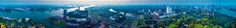 Rotterdam 360 Panorama - Sun sets over rotterdam on a hazy evening, Taken from top of the euromast.