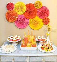 pink, orange and yellow party dessert table decorations