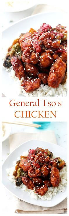 Spicy, sweet, tender, and delicious recipe for Homemade General Tso's Chicken!