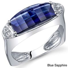 Oravo Sterling Silver Barrel-cut Gemstone Ring | Overstock™ Shopping - Top Rated Oravo Gemstone Rings