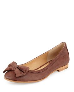 Frye Esther Bow Nubuck Leather Ballet Flat, Brown