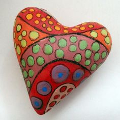 painted heart rock