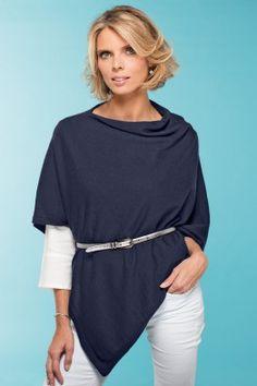7d501cf437b Poncho d été laine Made in France marin - Sylvie Tellier pour B. Solfin