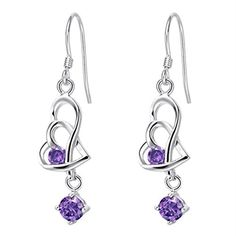 YLR Purple White Gold Plated Rhinestone Double Twist Heart Elongated Shiny Zircon Drop Earrings by YLR -- Awesome products selected by Anna Churchill