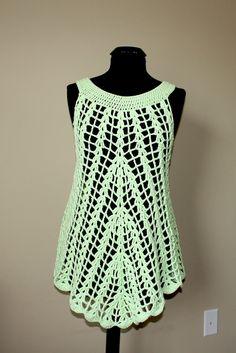 Mint green crochet summer tunic.