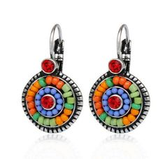 Vintage Earrings 2 Color Brincos Women Silver Colorful Beads Charms Rhinestones Ethnic Drop Earrings Bohemian Statement Jewelry 8 orders