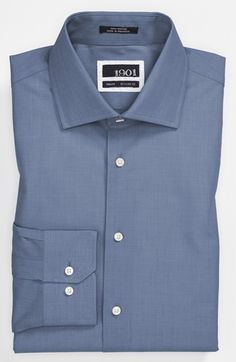 1901 Solid End-on-End Cotton Trim Fit Dress Shirt available at Fitted Dress Shirts, Shirt Dress, Nordstrom, Mens Fashion, Navy, Formal, Fitness, Casual, Men's Shirts
