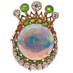 1stdibs - Victorian Opal, Demantoid Garnet & Diamond Rose Gold Ring explore items from 1,700  global dealers at 1stdibs.com