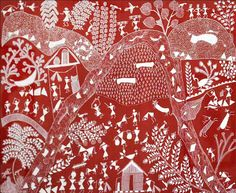 Jivya Soma Mashe is an artist of the Maharashtra state in #India, who popularised the Warli tribal #art form.  Images source: Arts of The Earth Gallery.