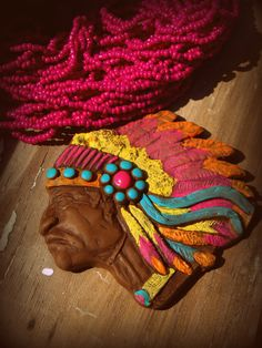 Indian Chief Western Clay Necklace by GrittynPretty on Etsy