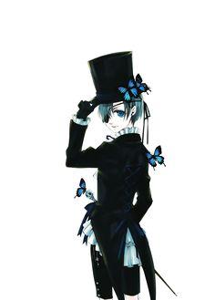 Render Kuroshitsuji - Renders Kuroshitsuji Ciel Phantomhive Garcon Canne Papilion