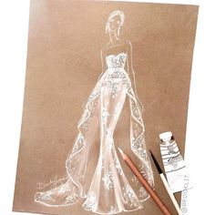 Marchesa fall '16 bridal look sketch in white charcoal pencil and gouache on brown craft paper by Brooke Hagel
