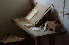 A desk in the merchants house in the medieval center at Sundby (Denmark).