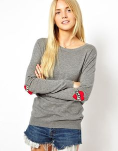 ASOS | ASOS Sweater With Love & Hate Elbow Patch at ASOS