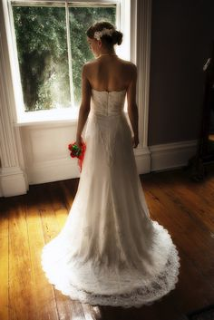 beautiful homemade wedding dress