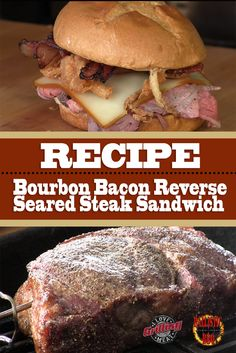 It's a juicy rib-eye steak. In a burger! This steak sandwich recipe, similar to the one served in Arby's, is guaranteed to. Bacon Sandwich Recipes, Bacon Breakfast Sandwiches, Pork Roast Recipes, Grilled Steak Recipes, Smoked Pork Roast, Reverse Sear Steak, Bacon Steak, Best Pot Roast, Pork Loin