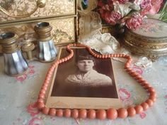 """Vintage Art Deco Coral Pink Lucite Beaded Necklace 24"""""""