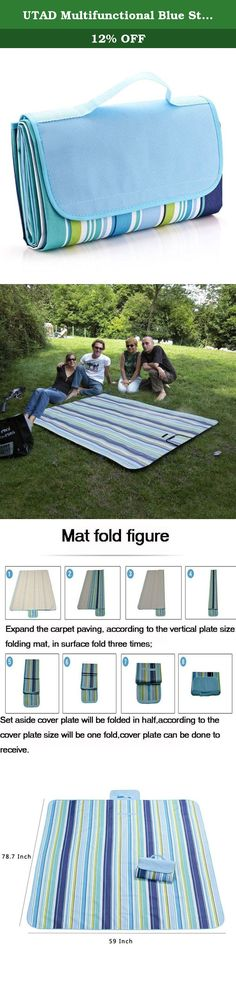 "UTAD Multifunctional Blue Stripe (70""x56"") Mat for Outdoor Camping Beach Picnic Blanket. Specifications: Material: Oxford 600D Color: Multicolor Size: 70""x56""(180*145cm) Net Weight: 810g Package includes: 1 x Camping Picnic Mat."