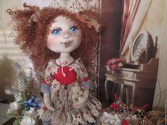 Купить Кукла Лизонька. Платье лен. Кукла текстильная, коллекционная - кукла ручной работы