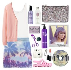 """""""Taylor Swift rocks purple hair"""" by karineminzonwilson ❤ liked on Polyvore featuring Totême, Polaroid, Bed Head by TIGI, Alexander McQueen, Forever 21, Sephora Collection, MAC Cosmetics, Uniqlo, JuJu and Fuji"""