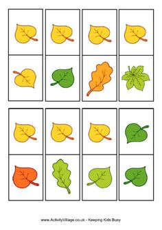 Autumn leaves dominoes-free printable. Require a response using a currently targeted speaking skill before placing a domino!