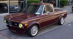 When it comes to combining two totally different car breeds, it doesn't get any trickier than this: a 1971 BMW 1600 turned into a pick-up. This incredible model was found surfing the web and looking for something completely different. Bmw Truck, Bmw Wagon, Porsche, Audi, Bmw Parts, Bmw 2002, Cabriolet, Rear Wheel Drive, Car Tuning