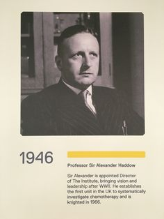 In 1946, Professor Sir Alexander Haddow is appointed as our Director, bringing post-war vision and leadership. He established the first unit in the UK to systematically investigate chemotherapy.  #ICRhistory
