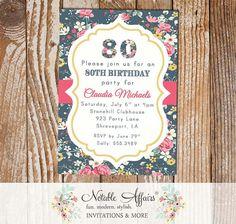 Floral Milestone Birthday 13th 16th 18th 20th 21st 30th 40th 50th 60th 70th 80th 90th 100th Modern Invitation - any age by NotableAffairs