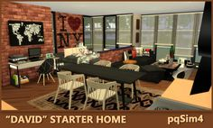 "pqSim4: ""David"" Starter Home. Sims 4 Custom Content."