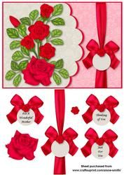 Scalloped Rose Card Front - Red