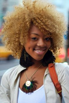 blonde kinky hair