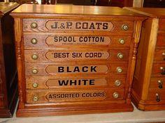 Stunning J&P Coats Reproduction Thread Spool Cabinet | Vintage ...