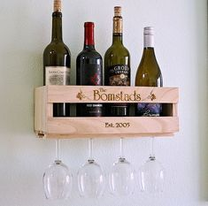 Teacher Gift - Custom Wine Rack Crate w/ 4 Etched Glasses, Ready to Gift, Personalized Wedding Present, Parents, Inlaws, Coworker, Boss Gift