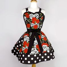Tattoo Art  Rockabilly  Skulls and Roses Polka Dots Apron on Etsy, $45.95