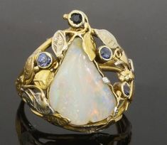 14ct Yellow & White Gold Handmade Opal & Sapphire Cluster Ring (Size N) 16x19mm #Cluster