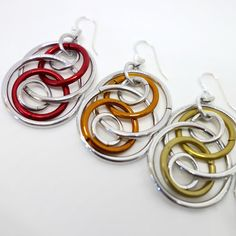 Colorful Illusion Loops Chainmaille Earrings by rosiethemage