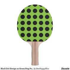 Black Dot Design on Green Ping Pong Paddle Ping Pong Table Tennis, Ping Pong Paddles, Dots Design, Black Dots, Green