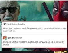Deadpool as Stan Lee. No more words, spread it. Marvel needs to read this Avengers Humor, Marvel Jokes, Marvel Funny, Marvel Dc Comics, Marvel Avengers, Avengers Cast, Best Funny Photos, Funny Pictures, Dc Memes