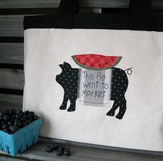 This Pig Went To Market - Farmers Market Tote Bag - Reusable Shopping Bag - Farmhouse style Canvas Tote by FarmhouseHomeDecor on Etsy