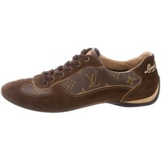 Pre-owned Louis Vuitton Monogram-Paneled Low-Top Sneakers ($325) ❤ liked on Polyvore featuring shoes, sneakers, brown, low profile shoes, lacy shoes, brown lace shoes, pre owned shoes and round toe shoes