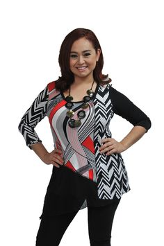 126085-BLK-WHT-RED https://fashquedesigns.com/shop/126085-blk-wht-red/ MULTI PRINT TUNIC...
