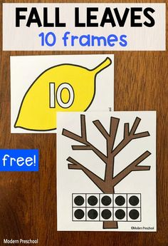 FREE printable fall leaves 10 frames math center activity to use with preschoolers and kinders in the autumn when learning numbers and counting! Apple Activities, Gross Motor Activities, Preschool Activities, Learning Numbers, Math Numbers, Fun Learning, Activity Centers, Math Centers, Preschool Math