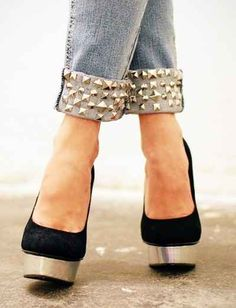 You can also give long jeans a cuff and then add studs to complete the look.