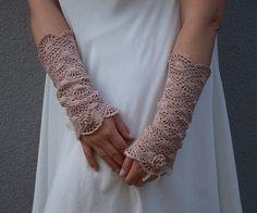 FREE SHIPPING La vie en rose - crocheted open work lacy romantic fall autumn fashion wrist warmers cuffs in dusty pink