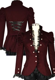 Victorian Gothic Lace Trim Corset Jacket in Cotton Twill --Chic Star design by Amber Middaugha and Alexis Wilt