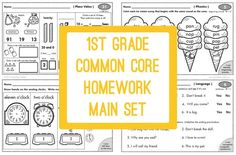 "100 pages of common core aligned math and language arts homework for 1st grade. Come see some samples and read why we think you will love these homework ""half sheets."""