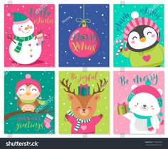 Find Vector Set Cute Cartoon Character Illustration stock images in HD and millions of other royalty-free stock photos, illustrations and vectors in the Shutterstock collection. Thousands of new, high-quality pictures added every day. New Year Vector, Cartoon Mignon, Cute Christmas Wallpaper, Cute Cartoon Characters, Hello Winter, Christmas Characters, Christmas And New Year, Xmas, Portfolio