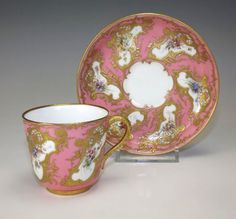 Royal Worcester Pink Textured Gilt Floral Cabinet Cup Saucer